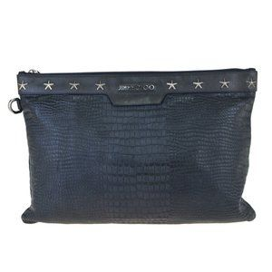 JIMMY CHOO Studded Clutch Hand Bag Embossing Leath